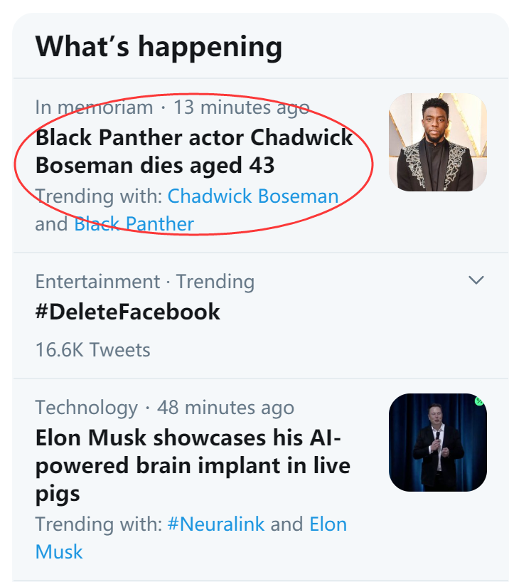 Chadwick Boseman passed away and hit the hot search on Twitter