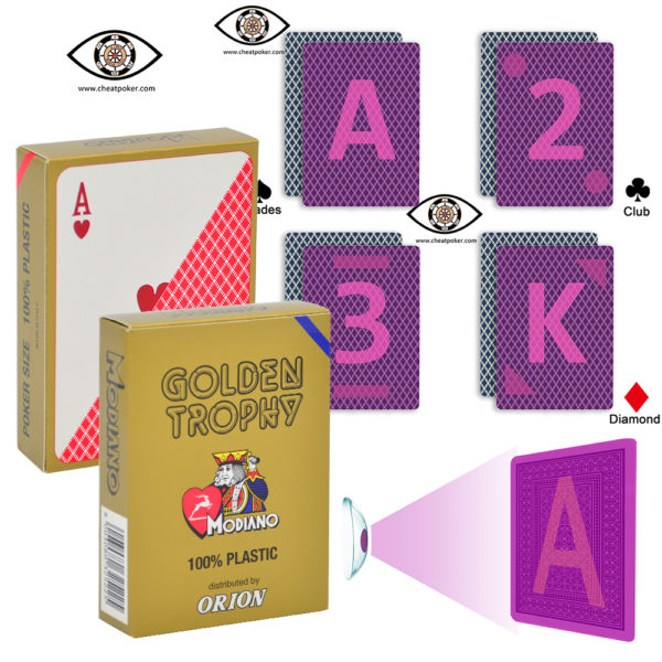 Modiano cheat poker golden trophy marked playing cards